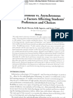 Synchronous vs. Asynchronous Tutorials Factors Affecting Students' Preferences and Choices