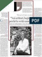 I Romanzi Pullulano Di Menzogne e Di Segreti, Di Tracy Chevalier - La Stampa 29.06.2013
