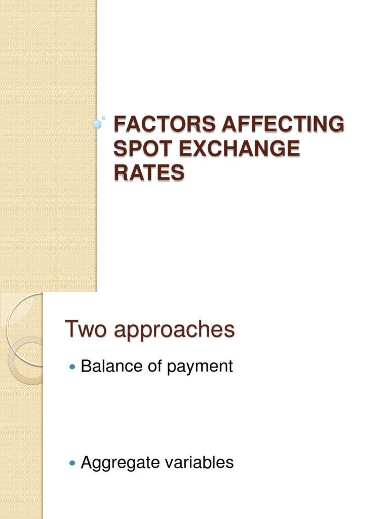 Factors affecting the exchange rate