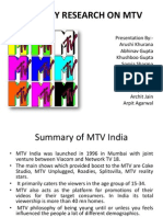 Primary Research on Mtv