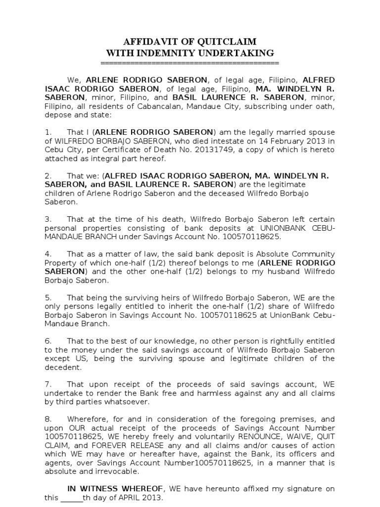 Affidavit Of Quitclaim Intestacy Natural Resources Law