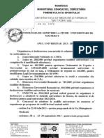 Metodologia de Admitere La Studii Universitare de Masterat