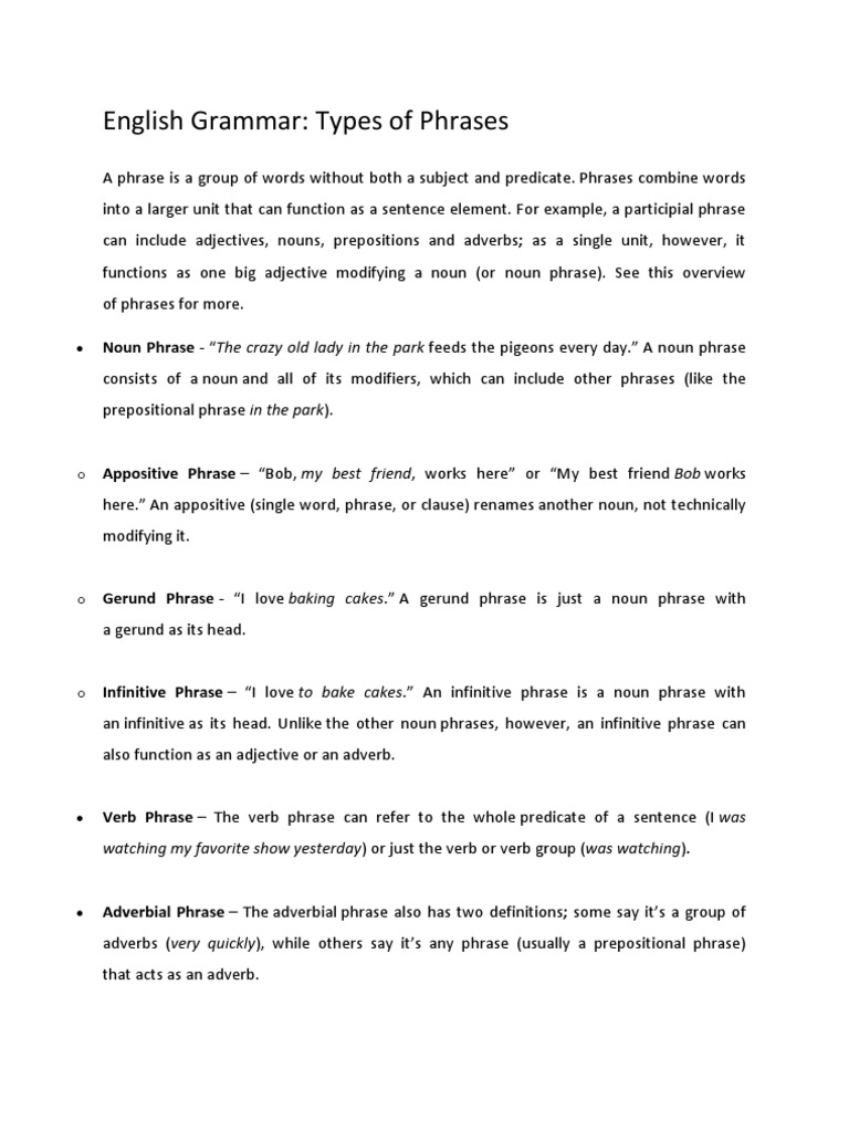 phrases and clause elements overview of Phrases and clauses the phrase and the clause we discuss the differences between these two elements and also explore two different types of clauses.