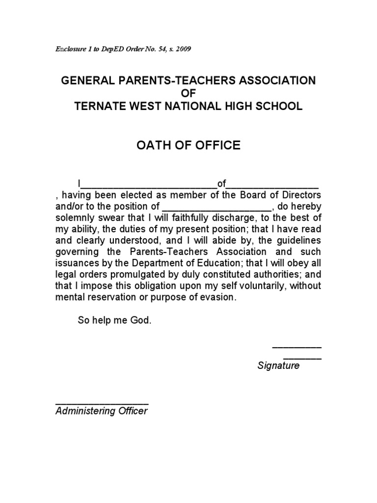 Oath of Office – Oath of Office Template