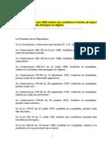 Loi n°08-11 du 25 juin 2008 relative aux conditions d'entrée, de séjour et de circulation des étrangers en Algérie.