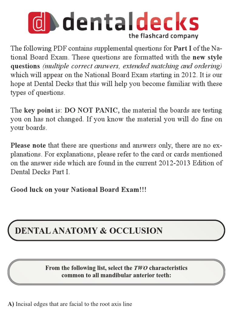 Dental Decks Part 1 2012 13 | Dental Anatomy | Earth & Life Sciences