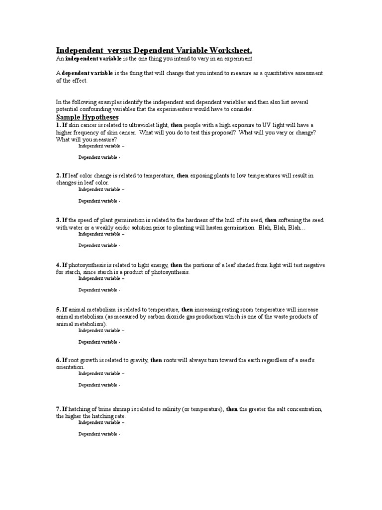 110406 IndependentversusDependentVariableWorksheetdoc – Independent and Dependent Variables Worksheet