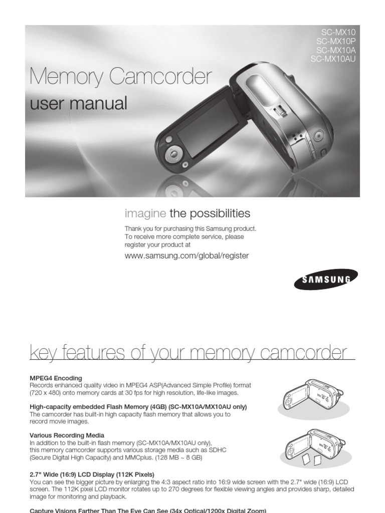 samsung camcorder mx10 user manual ac power plugs and sockets rh scribd com Samsung Smart TV Owners Manual Verizon Samsung Flip Cell Phone