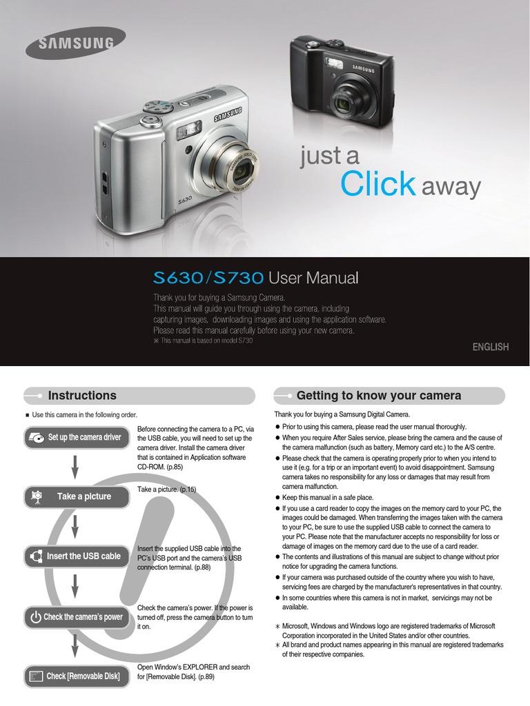 samsung camera s630 s730 user manual secure digital autofocus rh scribd com Samsung S830 Samsung S730