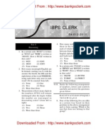 IBPS Clerk Exam Paper Helo on 4-12-2011 Test 1 Reasoning Www.bankpoclerk.com