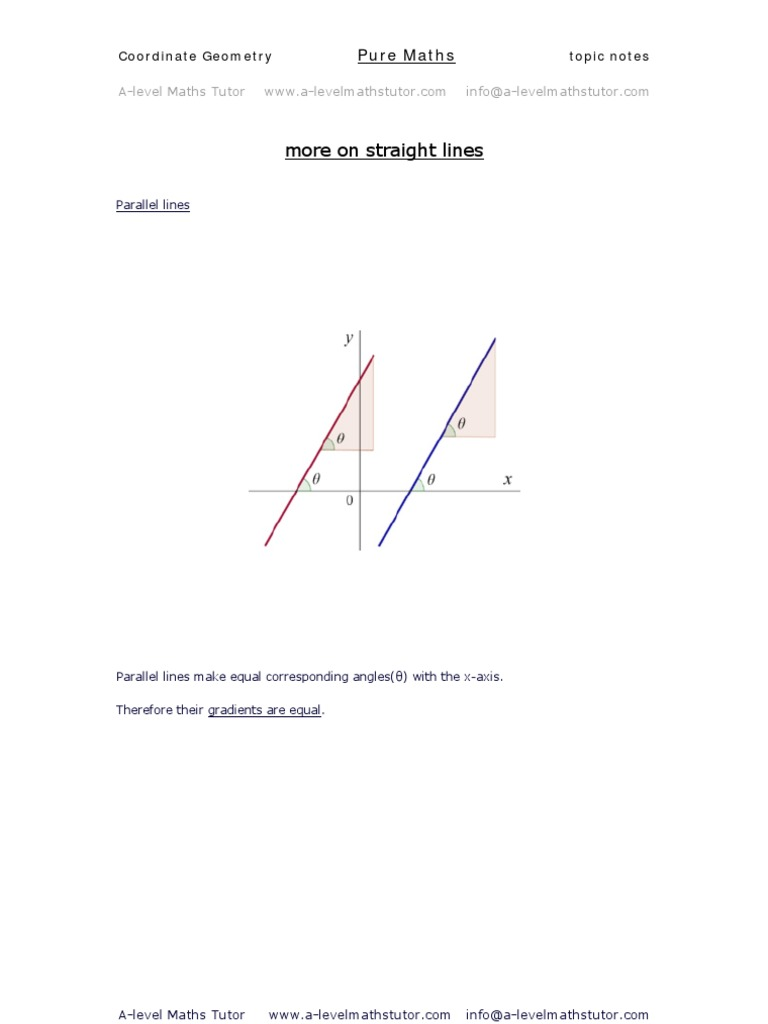 Straight Lines,coordinate geometry revision notes from A-level Maths ...