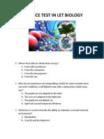 Practice Test in LET BIOLOGY
