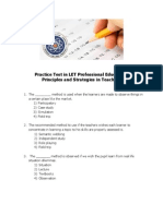 Practice Test in Let Professional Education-principles and Strategies in Teaching