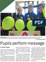 Pupils perform message (Marlborough Midweek, 2013.06.12)