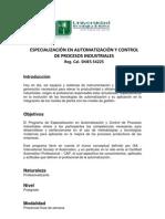 ESP. EN AUTOMATIZACIÓN Y CONTROL DE PROCESOS IND. PLAN ACADEMICO 2011
