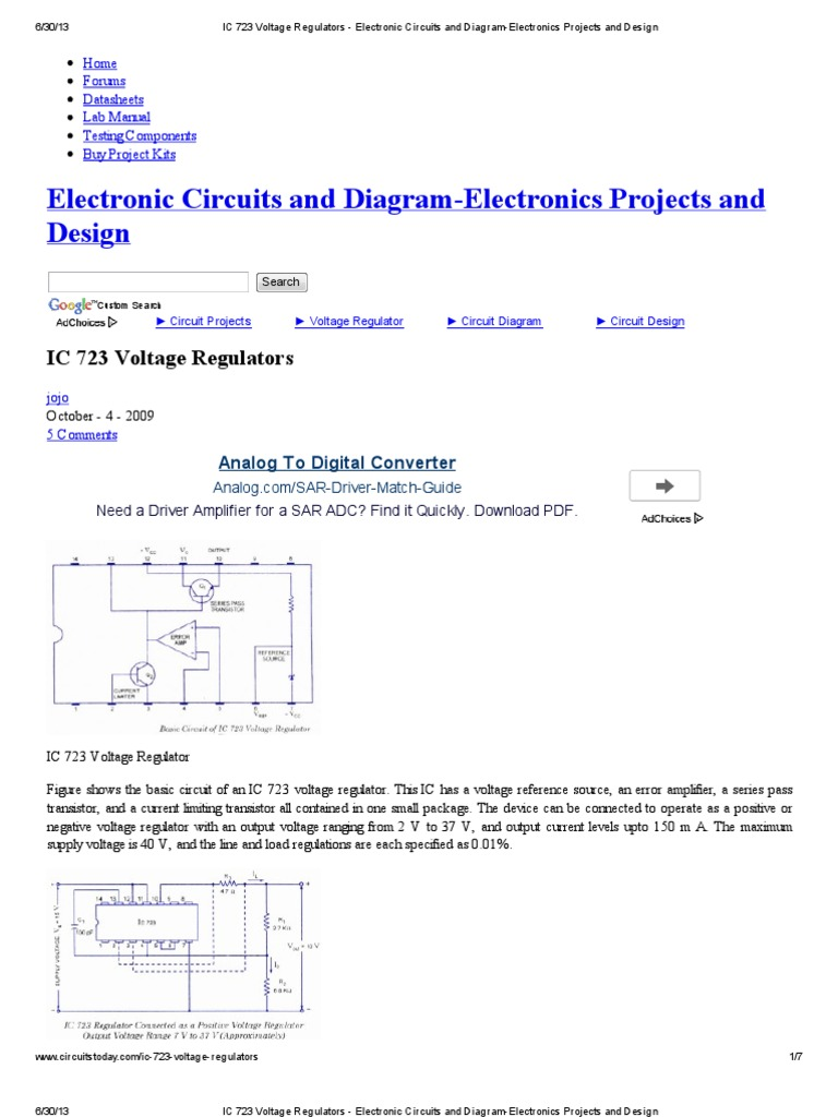 IC 723 Voltage Regulators - Electronic Circuits and Diagram ...