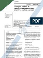 NBR 6401 NB 10 - Instalacoes Centrais de Ar Condicionado Para Conforto - Parametros Basicos de Projeto