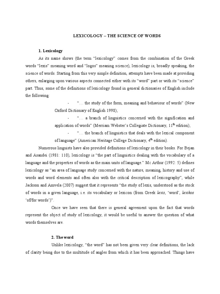 What is studying lexicology Section of science, studying vocabulary 8
