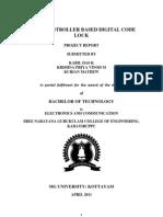 Microcontroller Based Digital Code Lock REPORT