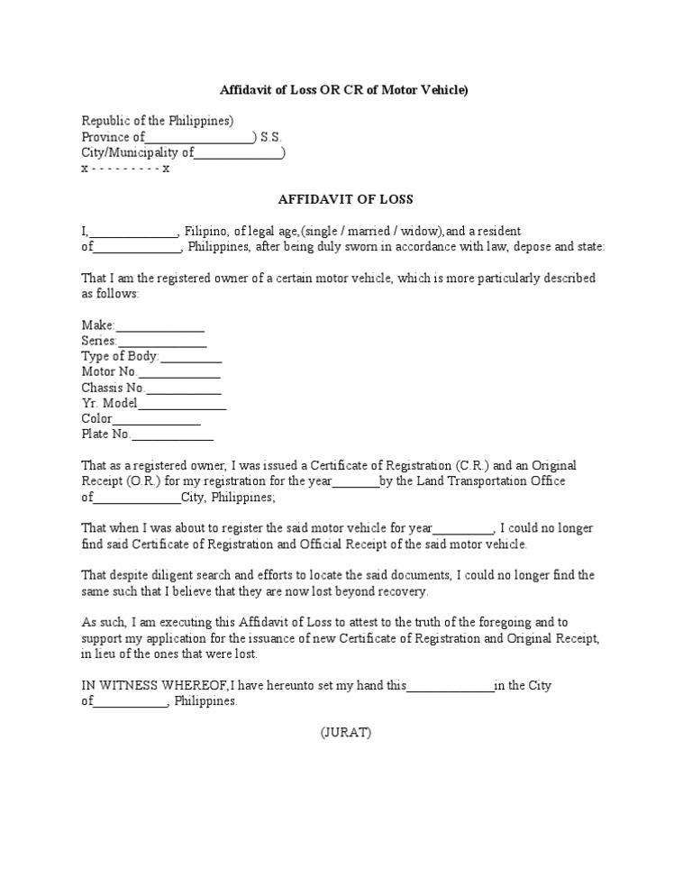 Affidavit Of Loss Or Cr Of Motor Vehicle