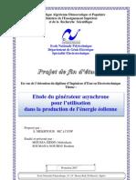 Etude du générateur asynchrone pour l'utilisation dans la production de l'énergie éolienne