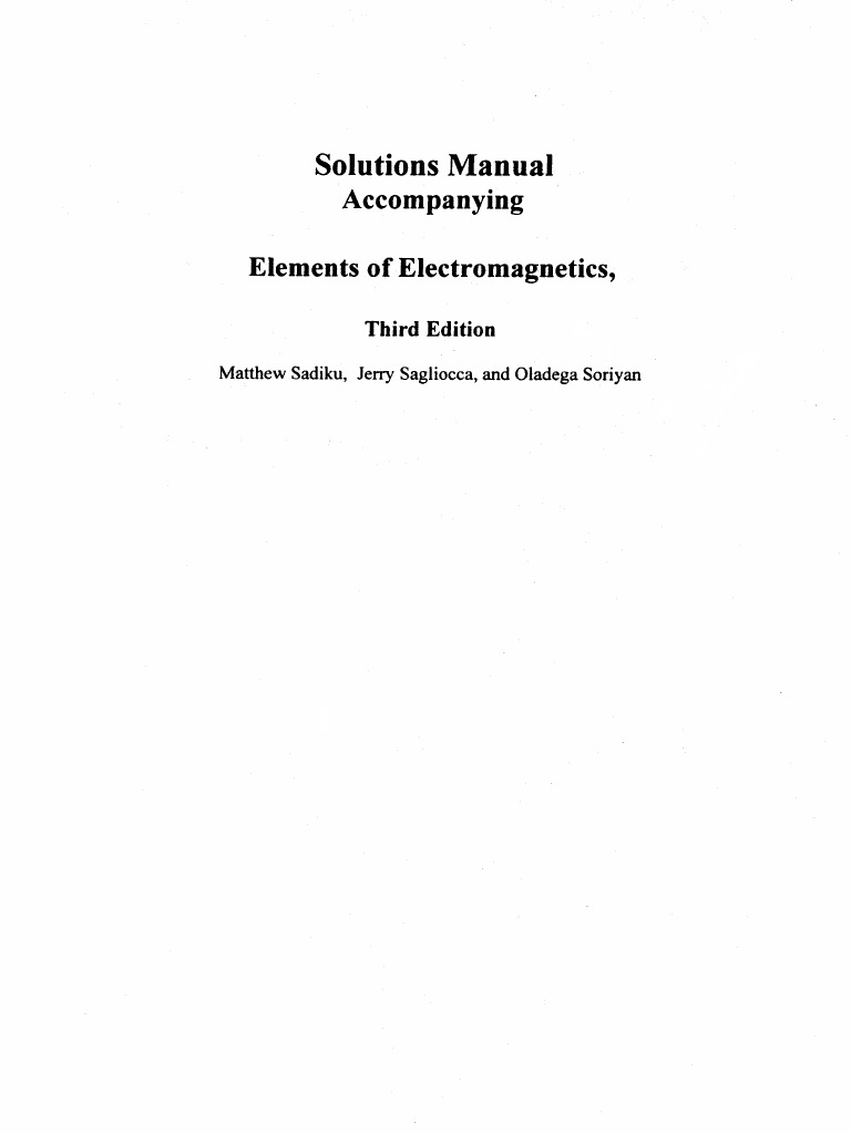 Pdf elements of electromagnetics sadiku
