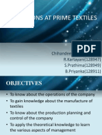Operations at Prime Textiles