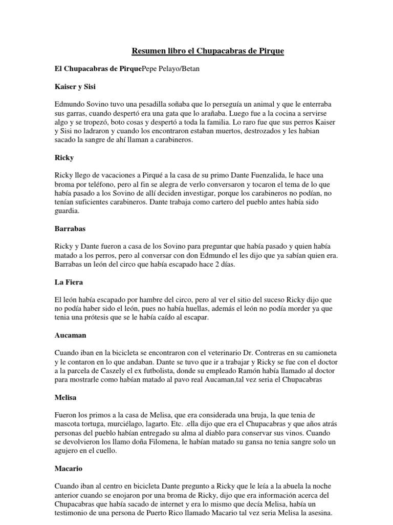 Resumen el chupacabras de pirque for Resumen del libro quimica en la cocina