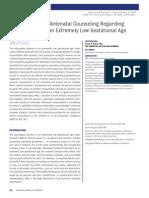 Antenatal Counseling Regarding Resuscitation at an Extremely Low Gestational Age PEDIATRICS 2009