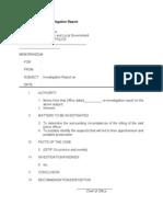 Sample Format of Investigation Report