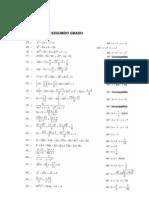 Ecuaciones de Segundo Grado y Problemas