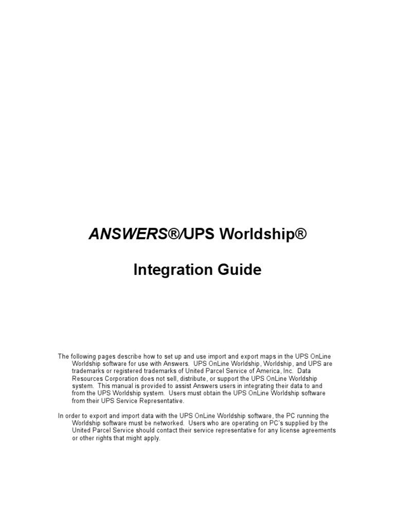 Ups World Ship Setup | United Parcel Service | Comma Separated Values