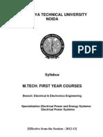 M.tech Ist Year Syllabus of en (Effective 2012-13)