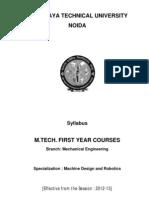 M.tech_Machine Design and Robotics Syllabus for First Year 2012-13