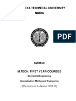 M.tech_Mechanical Engineering Syllabus for First Year 2012-13