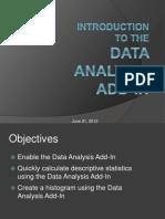 Data Analysis Add-In Intro