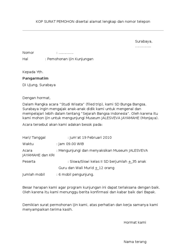 Contoh Surat Rasmi Permohonan Ke Luar Negeri - Resepi Book c