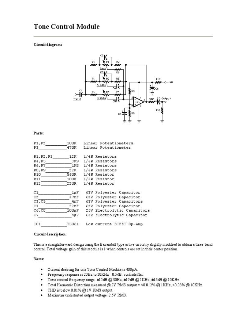 Tone Control Module Bass Guitar Amplifier Circuit For Using 741