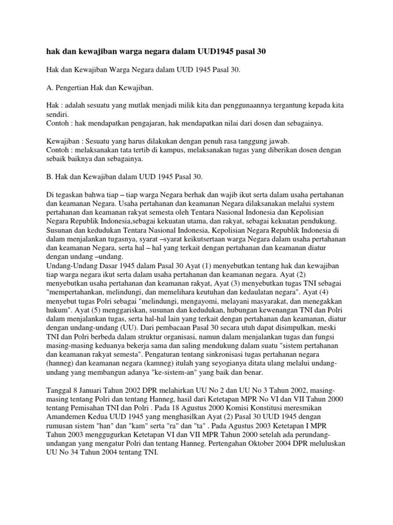 Hak Dan Kewajiban Warga Negara Dalam Uud1945 Pasal 30