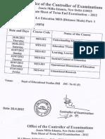 Datesheet Master Degree Programmes