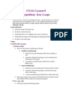 For Loop in MATLAB
