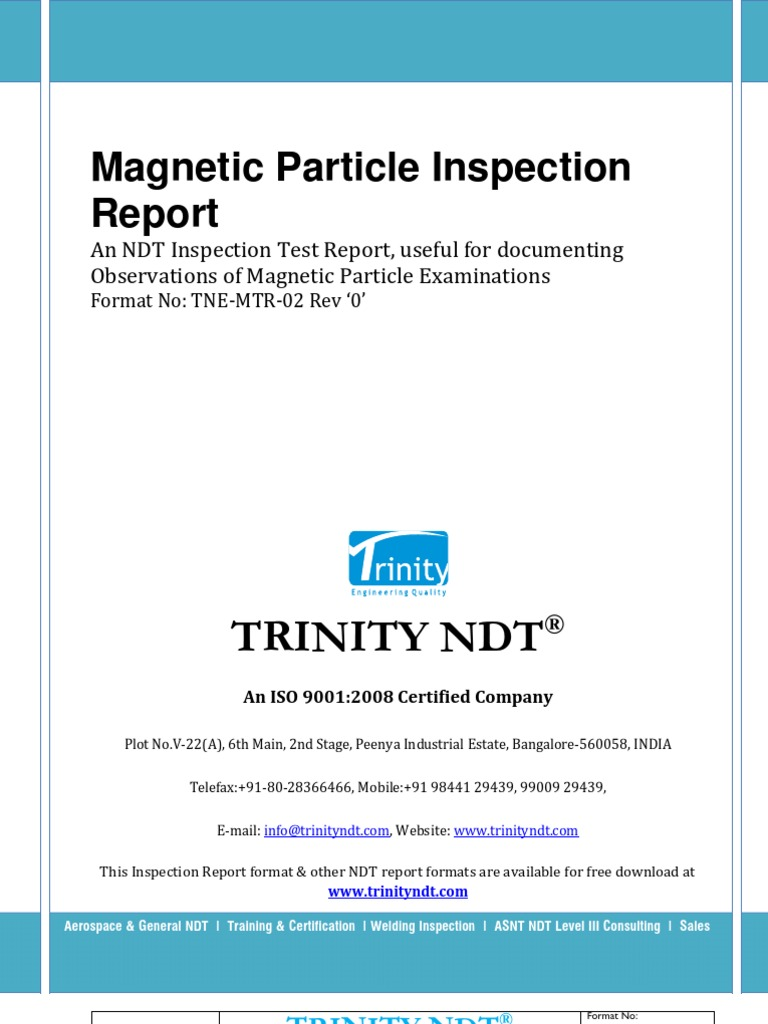 Magnetic particle inspection ndt sample test report format maxwellsz
