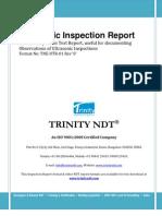 Ultrasonic Inspection NDT Sample Test Report Format