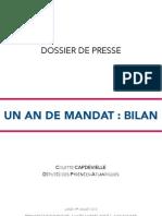 Dossier de Presse - Un an de Mandat