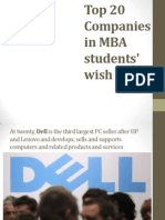 Top 20 Companies in MBA Students' Wish