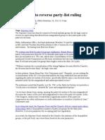 Case 0n Consti Law - Partylist Ruling 2013