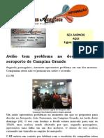 Avião tem problema na decolagem no aeroporto de Campina Grande
