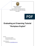Evaluating E-learning tutorial