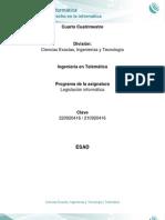Legislación Informática. Unidad 2. El Derecho en La Informática - UNADM