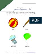 Consonant Worksheet Letter b